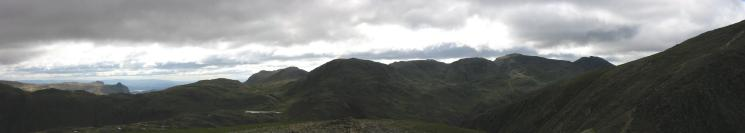 Panorama from Green Gable summit: Langdale Pikes to the route up Great Gable from Windy Gap