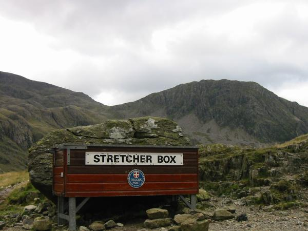 Sty Head Mountain Rescue Kit with Lingmell behind