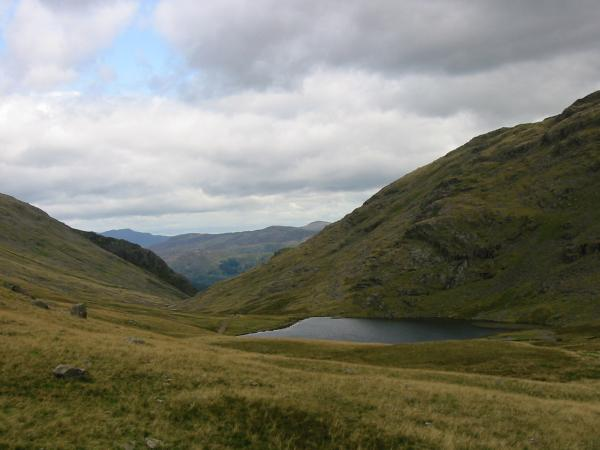 Styhead Tarn and the route back to Borrowdale
