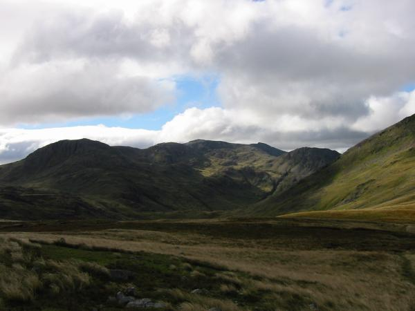 The Scafells from the ridge between Base Brown and Green Gable