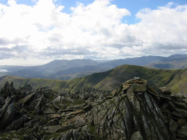 Great Rigg with the Coniston fells behind from Hart Crag's north west summit cairn