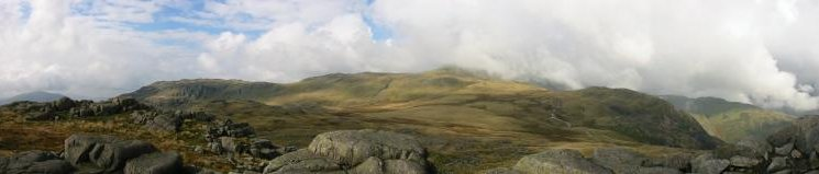 Little Stand, Crinkle Crags in cloud and Great Knott from Cold Pike