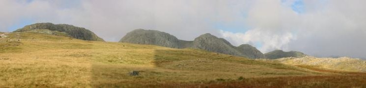 The 5 Crinkles of Crinkle Crags, the second from the left is the highest, and Shelter Crags on the far right
