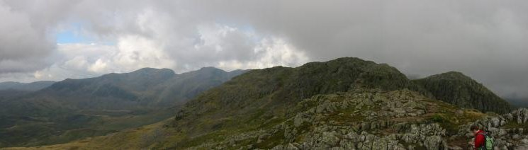 Crinkle Crags: Looking north, Crinkle #2 (highest) and Crinkle #3 from Crinkle #1 with the Scafells behind