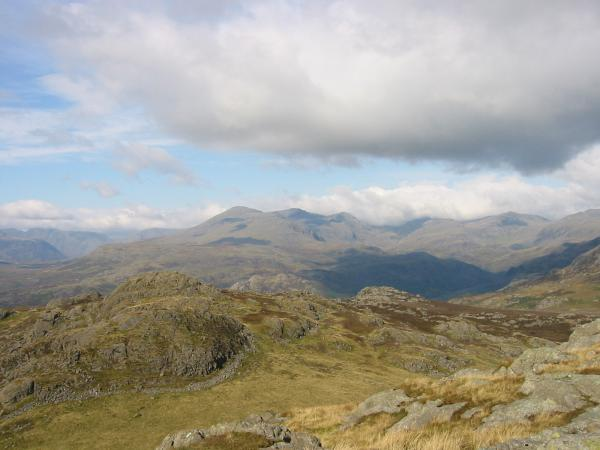 Looking north to the Scafells from Green Crag summit