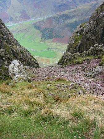 Looking down South Scree, Pike O' Stickle