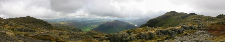 Panorama from the path between Pavey Ark and Harrision Stickle