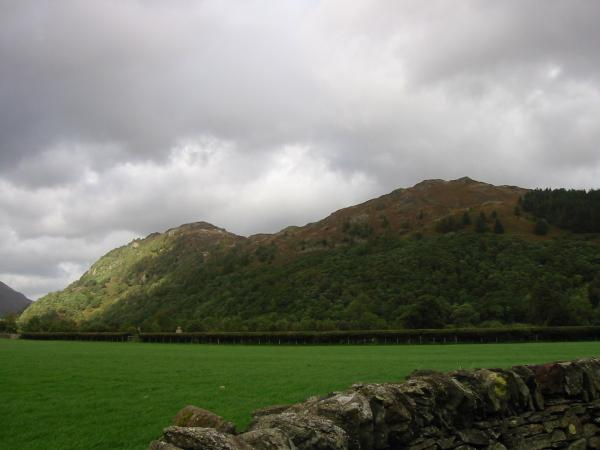 Grange Fell's two tops from Rosthwaite, King's How on the left and Brund Fell on the right