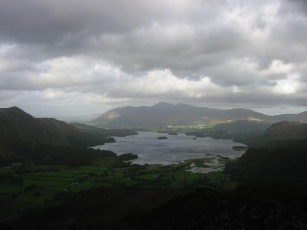 Skiddaw, Keswick and Derwent Water from King's How summit, Grange Fell