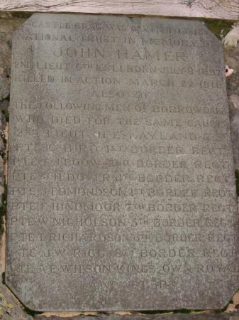 John Hamer memorial plaque, Castle Crag summit