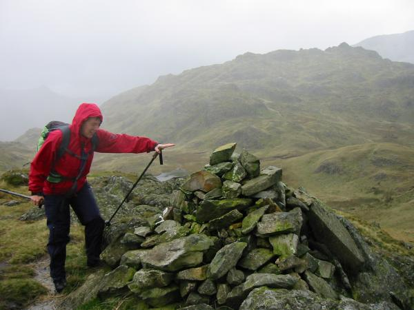 A very wet and windy summit of Bessyboot, Rosthwaite Fell
