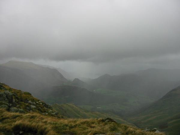 Borrowdale in the rain from Thornythwaite Fell
