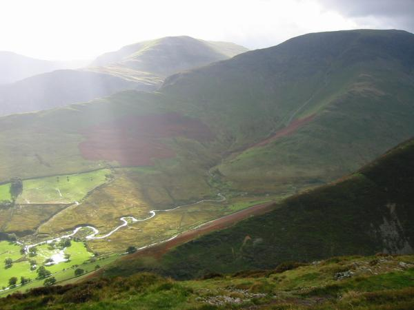 Hindscarth and Robinson across Newlands valley from the ridge between Knott Rigg and Ard Crags
