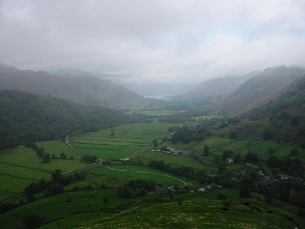 Patterdale, with Ullswater just visible in the distance from the north ridge of Hartsop Dodd