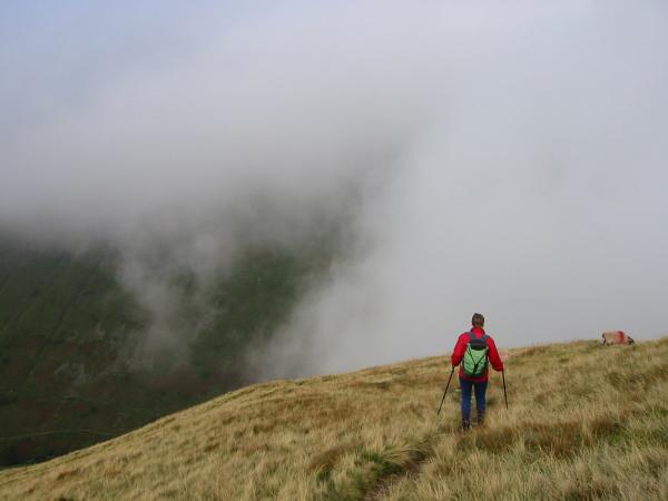 Descending to Hartsop from Gray Crag, at last dropping out of the cloud