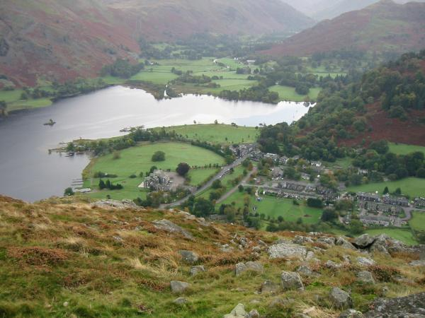 Glenridding village and the south end of Ullswater from Glenridding Dodd
