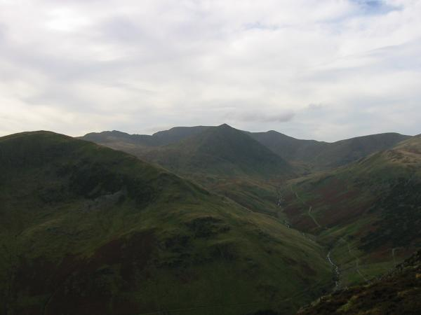 Catstycam with Helvellyn behind from the east ridge of Sheffield Pike