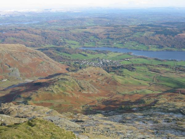 Coniston village from Coniston Old Man