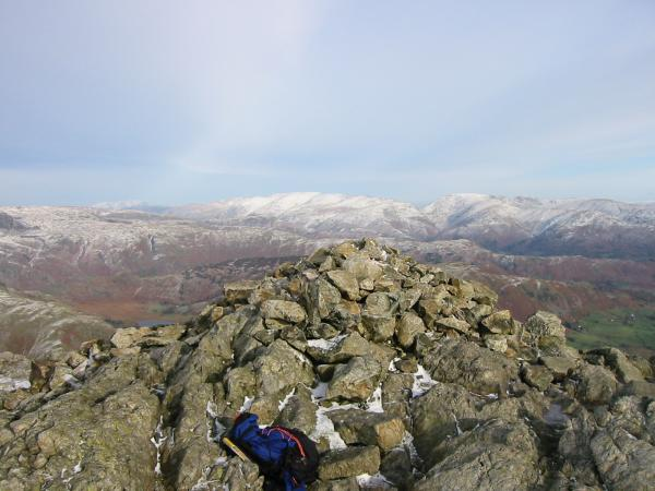 Looking north east from Wetherlam summit
