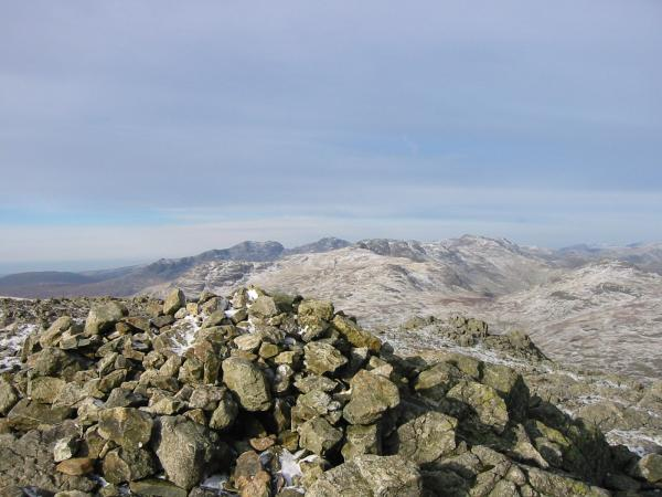 Looking north west from Wetherlam summit