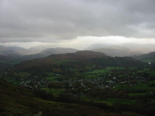 Loughrigg and Ambleside from the climb up Wansfell Pike