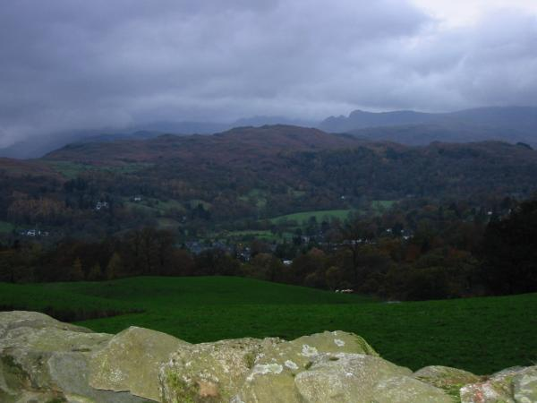 Ambleside, Loughrigg and the Langdale Pikes from the descent off Wansfell Pike