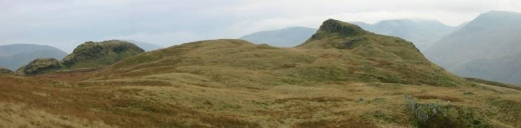 The twin summits of Angletarn Pikes, the northern (right) one is the higher