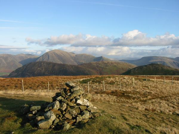 Mellbreak and Hen Comb with the north western fells behind from Gavel Fell summit