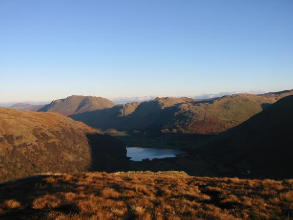Brothers Water with Place Fell, Angletarn Pikes and Brock Crags behind from High Hartsop Dodd summit