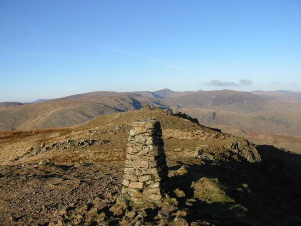 Looking towards Helvellyn from Red Screes summit