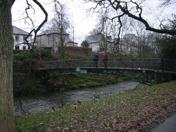 Footbridge over the River Greta into Fitz Park, Keswick