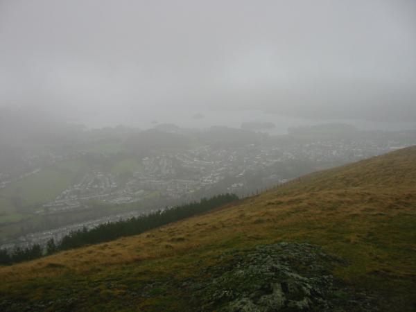 Keswick and Derwent Water just visible from Latrigg summit at 12:20