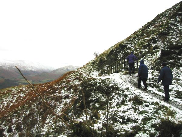 On the traverse above Yew Crag, Gowbarrow Fell