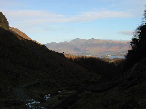 Skiddaw fells and Derwent Water from Broadslack Gill, Borrowdale