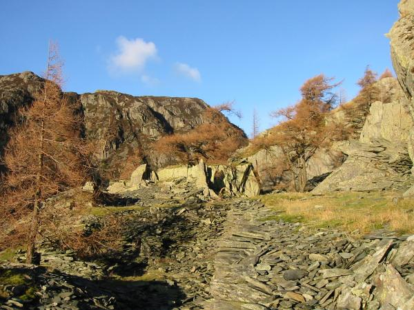Quarry workings at the top of Castle Crag