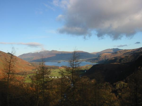 Skiddaw fells and Derwent Water from Castle Crag summit
