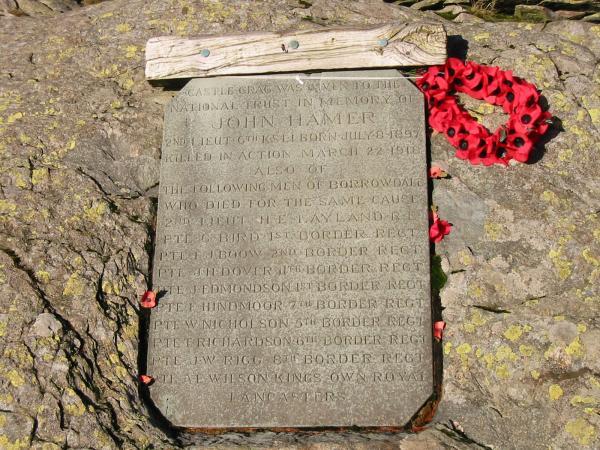 Memorial, Castle Crag summit