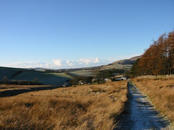 Looking back down the track to Longlands