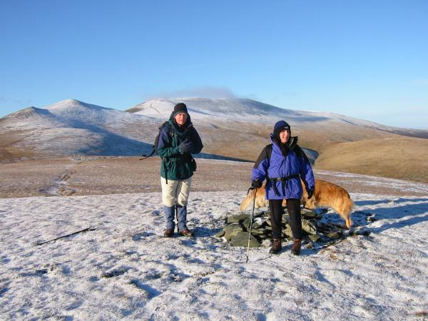 Lonscale Fell summit with Skiddaw Little Man and Skiddaw behind