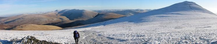Panorama, Blencathra to Skiddaw Little Man, from the climb up to Skiddaw