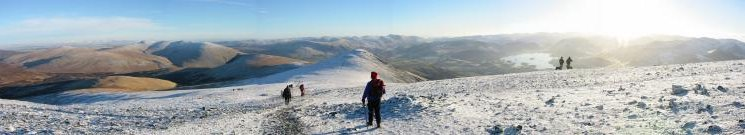 Panorama southwards as we head for the final fell of the day, Skiddaw Little Man