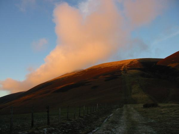 Jenkin Hill and a touch of cloud over Little Man at sunset