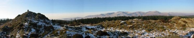 Carron Crag summit and the Coniston Fells