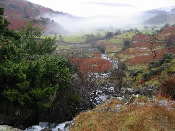 Looking back down Easedale from Sourmilk Gill