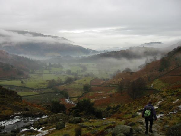 Descending back into a misty Easedale