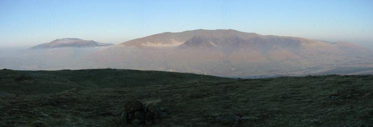 Skiddaw Fells and Blencathra from Threlkeld Knotts summit