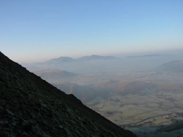 The northwest fells and the Vale of Keswick from the climb up Clough Head