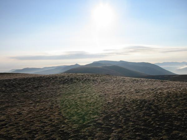 Looking south along the Helvellyn ridge from Great Dodd summit