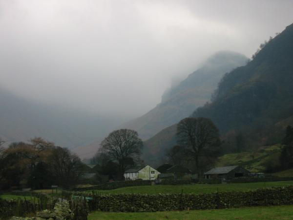 Eagle Crag in cloud from Stonethwaite