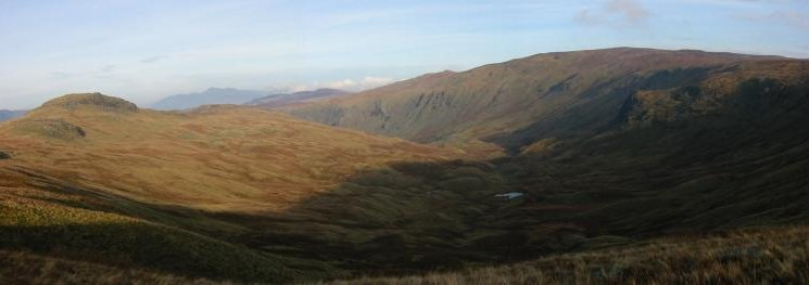 Sergeant's Crag and Greenup Gill with Skiddaw in the distance